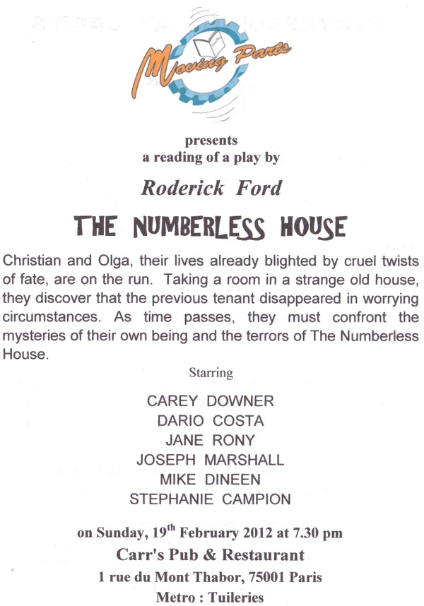 Playbill for the Moving Parts reading of The Numberless House, Paris, 2012