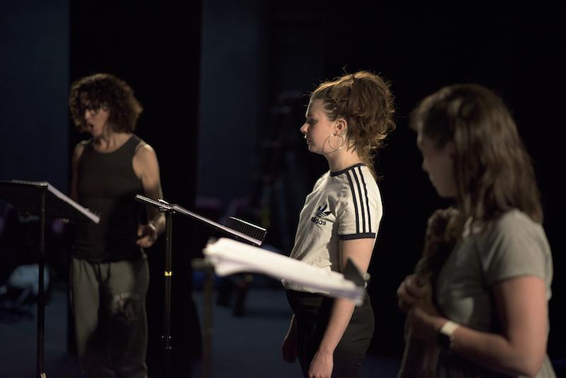Ob Gob performance at the Peacock Theatre, Dublin. Ruth Lehane as Yulia, Áine Ní Laoghaire as Neon, Cara Christie as Caoimhe.
